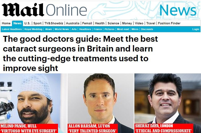 Sheraz Daya listed in the Good Doctors Guide 2018 by the DailyMail
