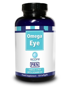 Bottle of Omega Eye supplements