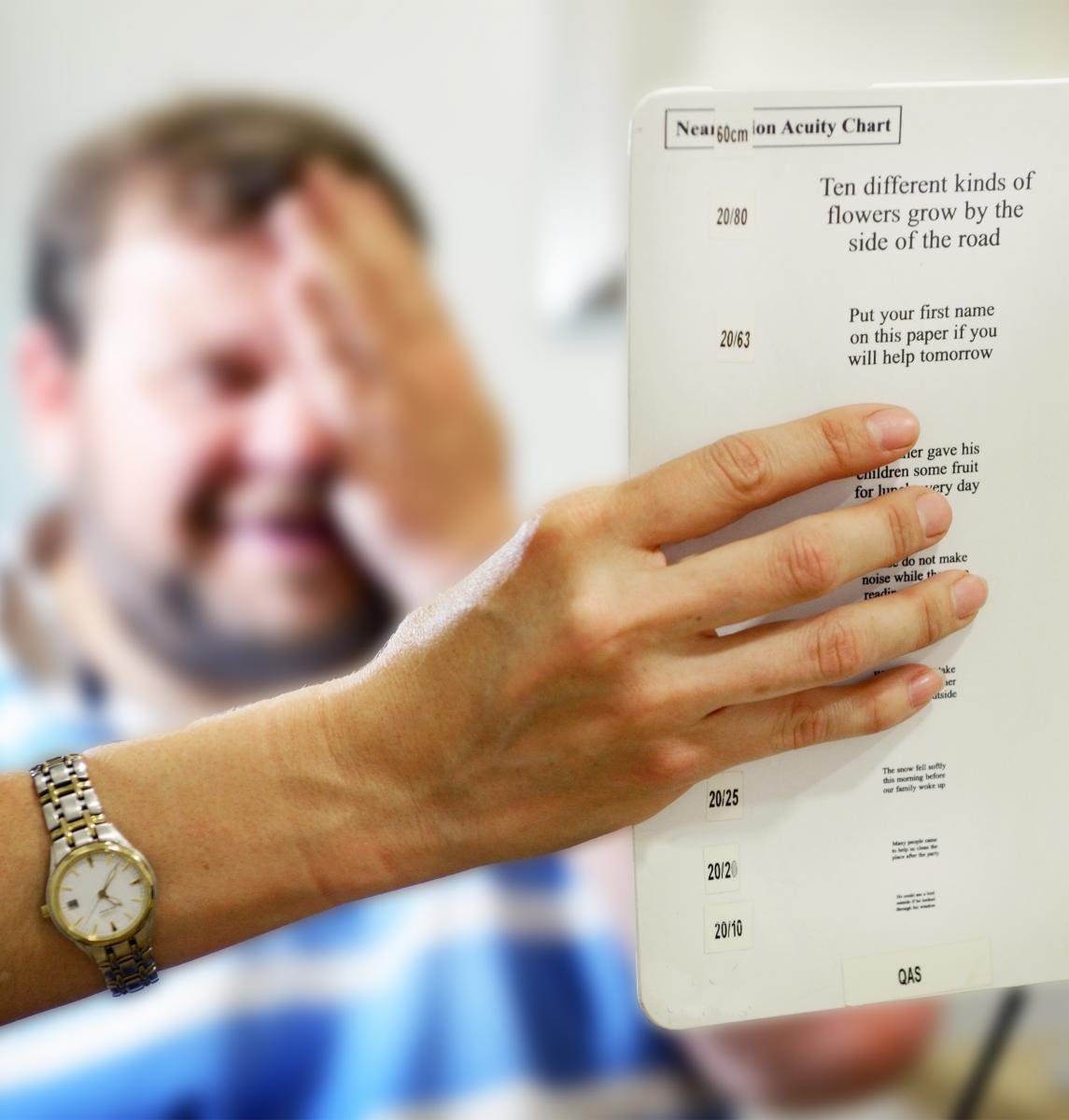 Man having an eye examination
