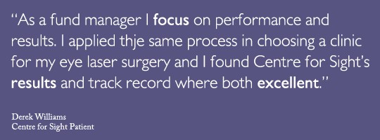 Fund manager Derek Williams from London shares his LASIK experience with Centre for Sight