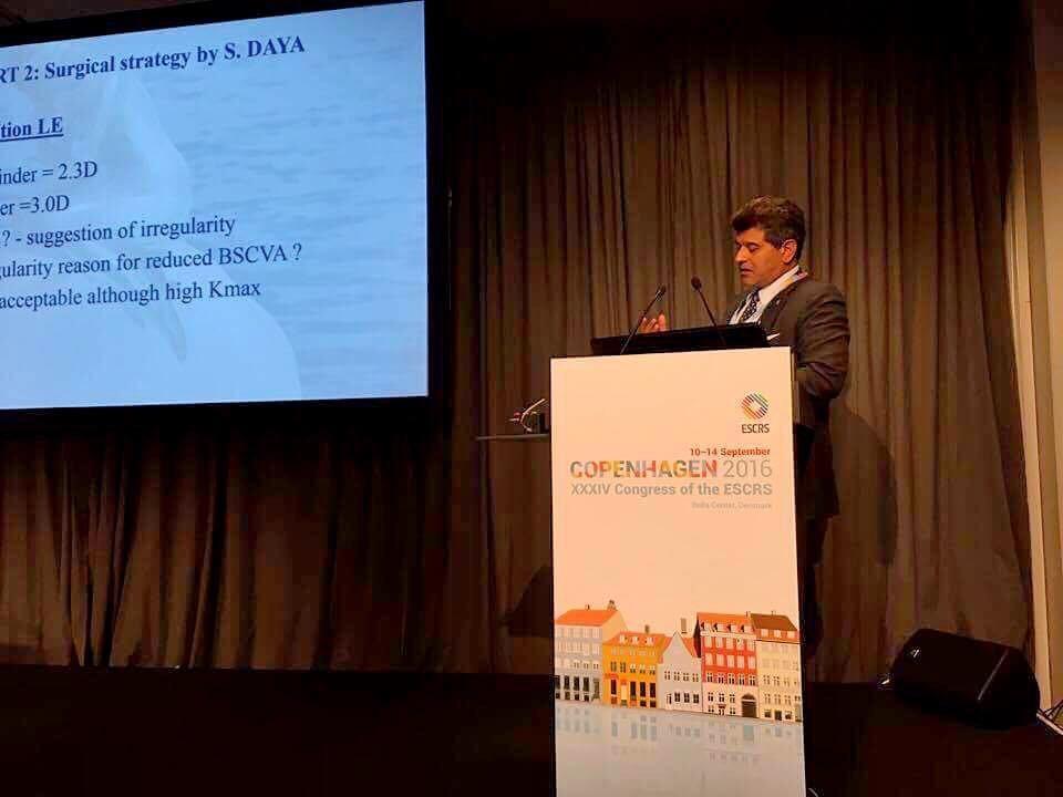 Mr. Daya presenting at the Keratoconus Experts symposium at ESCRS 2016
