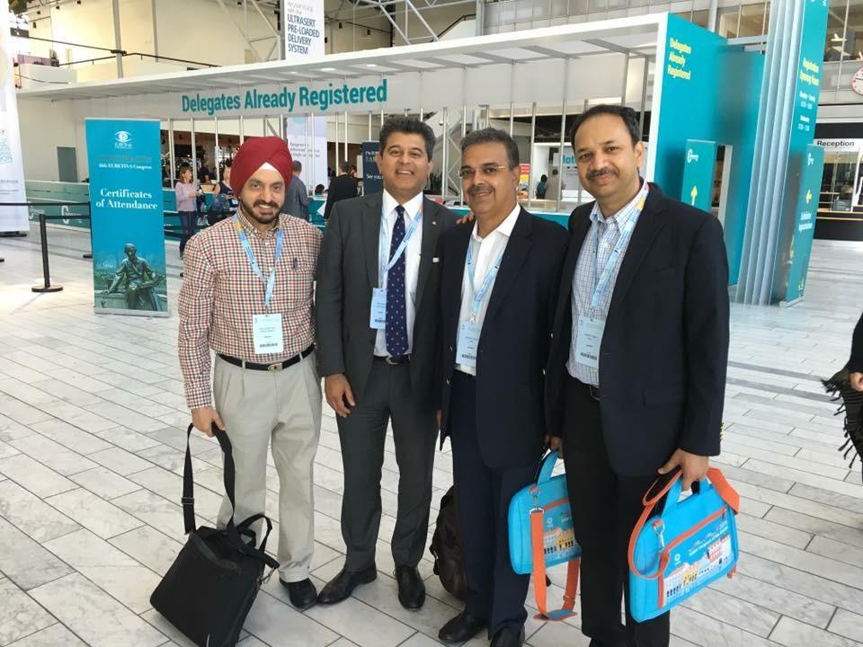 Sheraz Daya with Prof Harminder Dua, Dr Gaurav Luthra and Dr. Rajech Fogla