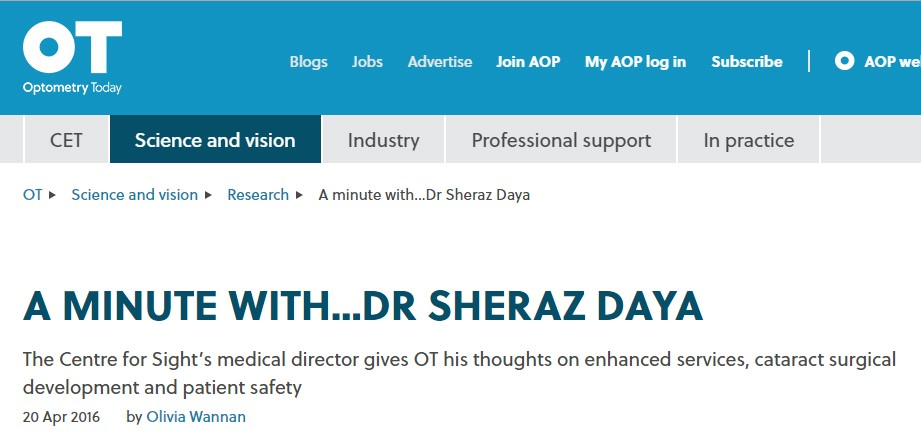 Sheraz Daya S Interview With Optometry Today Cfs