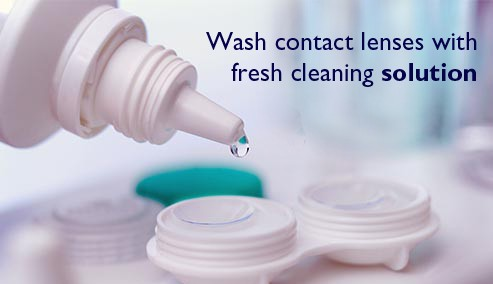 Wash contact lenses with fresh cleaning solution